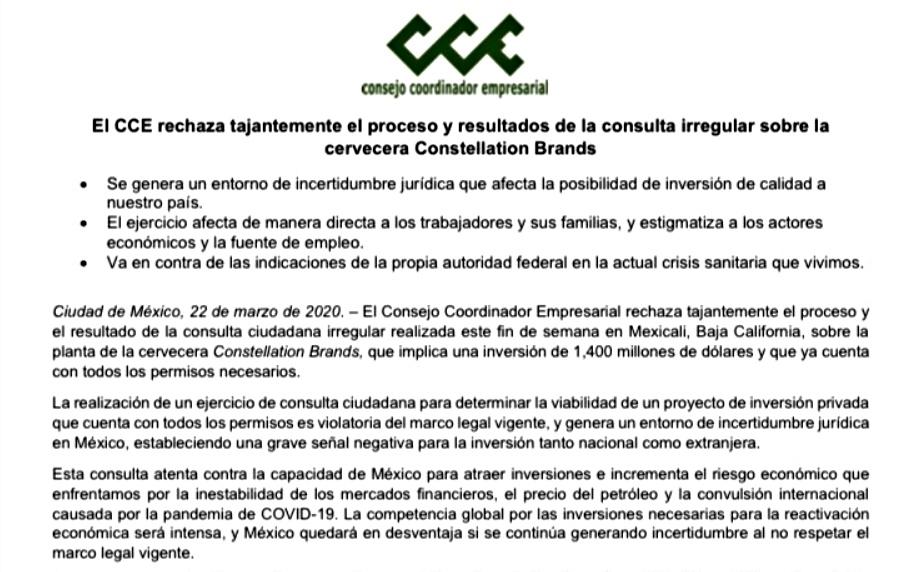 RECHAZA CCE CONSULTA CIUDADANA REALIZADA POR PLANTA CERVECERA EN MEXICALI