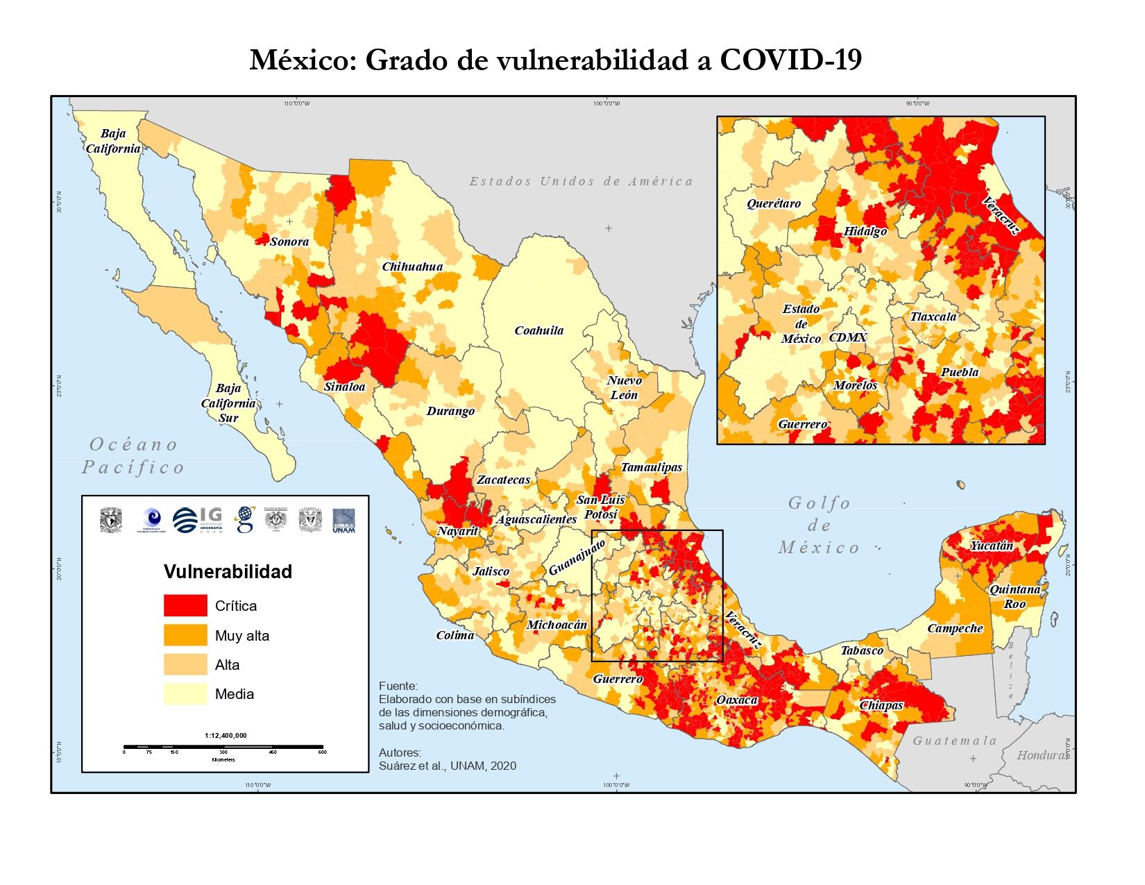 DESARROLLA UNAM MAPA DE VULNERABILIDAD DE COVID-19 EN MÉXICO