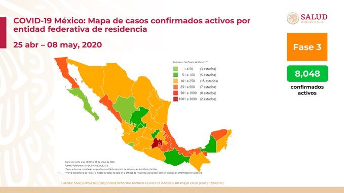 SUMAN MÁS DE 3 MIL DEFUNCIONES EN MÉXICO POR COVID-19