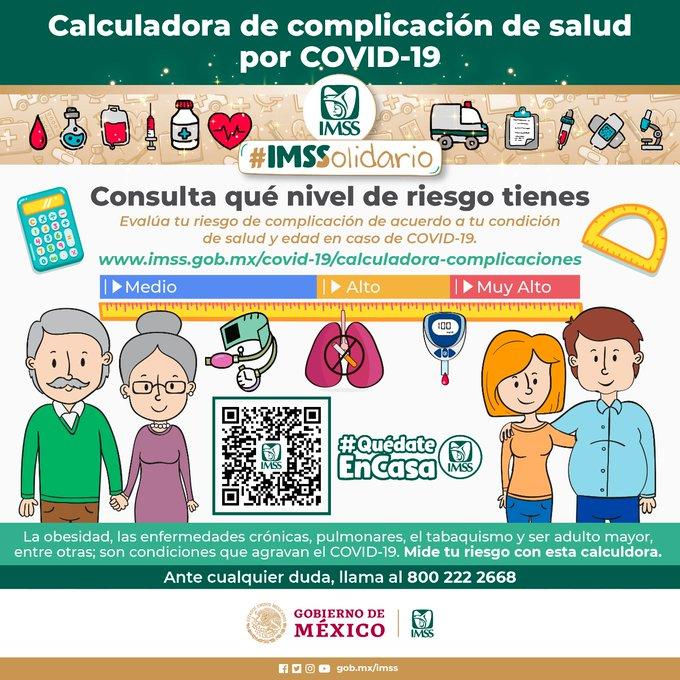 LANZA IMSS CALCULADORA PARA CONOCER COMPLICACIONES DE LA SALUD POR COVID-19