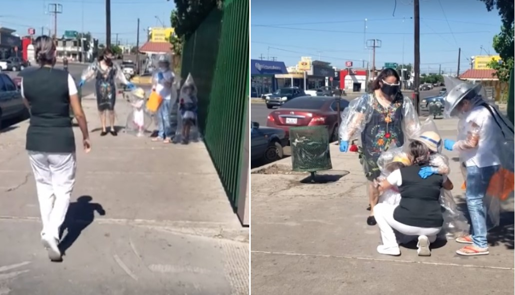 VIDEO: NIÑAS SE CUBREN CON PLÁSTICO PARA VISITAR A SU MAMÁ EN UN HOSPITAL
